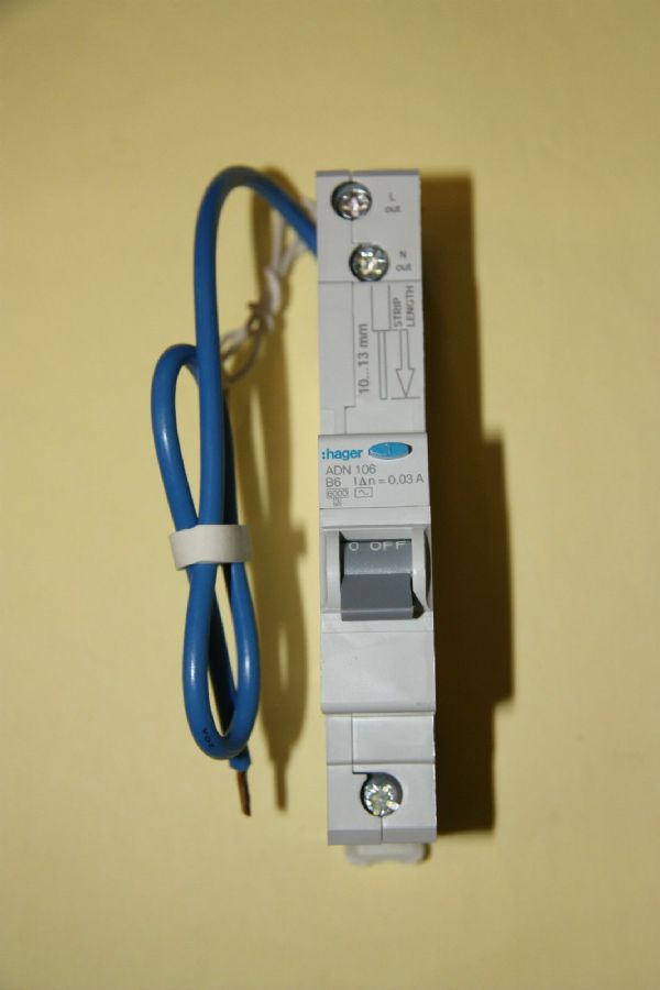Hager - ADN106 - 6a 30mA AC Type B Single Pole RCBO New
